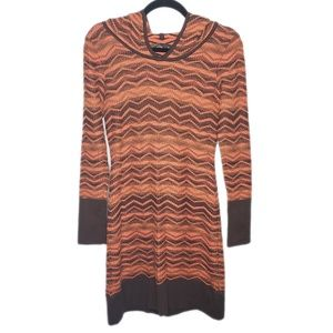 Prana Chevron Hooded Long Sleeve Sweater Dress